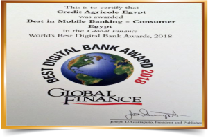 Global Finance Awards-eBSEG CEEP Omni Channel Digital Banking Platform Solution for Credit Agricole Egypt as Best in Mobile Banking