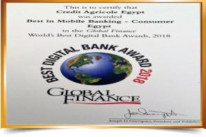 Global Finance Awards-eBSEG CEEP Omni Channel Digital Banking Platform Solution for Credit Agricole Egypt as Best in Mobile Banking
