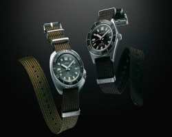 Two creations presented on a new type of fabric strap made especially for Prospex diver's watches.